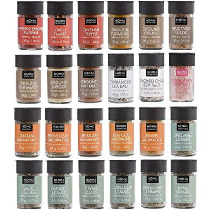 NOMU 24-Piece Starter Variety Set of Spices, Herbs, Chilis, Salts and Seasoning Blends Kit | No MSG, Additives or Preservatives - His Perfect Gifts