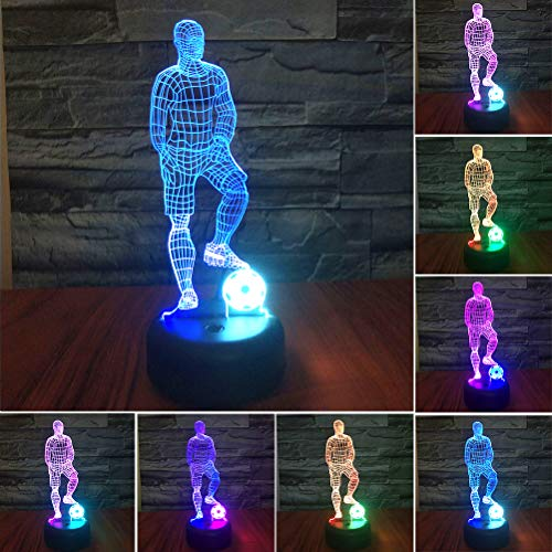 Soccer Player LED 3D Illusion USB Lamp, Mixed Color Optical Night Light Christmas Present Birthday Gift for Boy Boyfriend Husband Sports Lover Men Kid Nursery Bedroom Room Decor (Soccer Player) - His Perfect Gifts