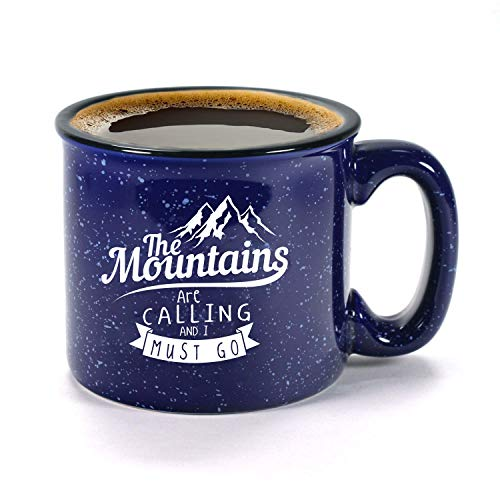 The Mountains Are Calling And I Must Go Ceramic Campfire Coffee Mug 15oz - Unique Gift Idea for Outdoor Mountaineering Enthusiasts - Inspirational John Muir Quote - Top Outdoorsman Cabin Gifts - His Perfect Gifts