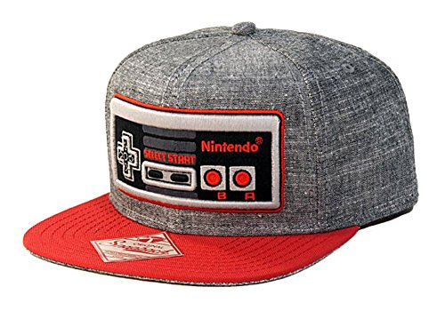Nintendo Controller - Snapback Hat, Gray and Red, One Size - His Perfect Gifts