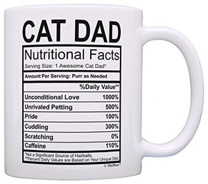 Cat Dad Mug Funny Cat Dad Nutritional Facts Cat Gifts for Men Cat Birthday Gifts Gift Coffee Mug Tea Cup White - His Perfect Gifts