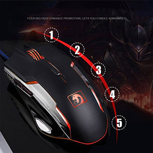 Keyboard Mouse Combo Gamer Wired Orange Yellow LED Backlit Metal Pro Gaming Keyboard + 2400DPI 6 Buttons Mouse + Mouse Pad for Laptop PC (Black & Yellow Backlit) - His Perfect Gifts