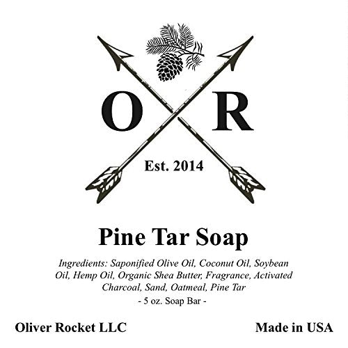 Oliver Rocket Pine Tar Soap (3 bar set) - 5 ounces each - Mens Face and Body Exfoliating Black Soap Bar with Pine Tar and Activated Charcoal - Handmade in USA with Coconut Oil and Olive Oil - His Perfect Gifts