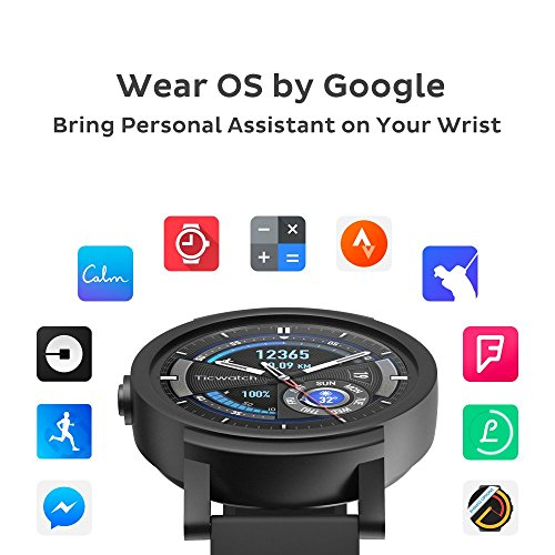 Ticwatch E most comfortable Smartwatch-Shadow,1.4 inch OLED Display, Android Wear 2.0,Compatible with iOS and Android, Google Assistant - His Perfect Gifts