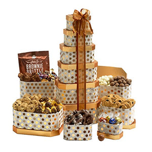 Broadway Basketeers Gourmet Gift Tower with an Assortment of Chocolate, Snacks, Sweets, Cookies and Nuts - His Perfect Gifts