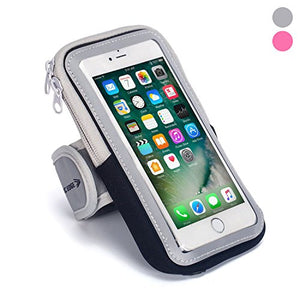 Sports Armband: Cell Phone Holder Case Arm Band Strap with Zipper Pouch/Mobile Exercise Running Workout for Apple iPhone 6 7 8 iPod Touch Android Samsung Galaxy S5 S6 S7 S8 Edge LG HTC Pixel (Black) - His Perfect Gifts