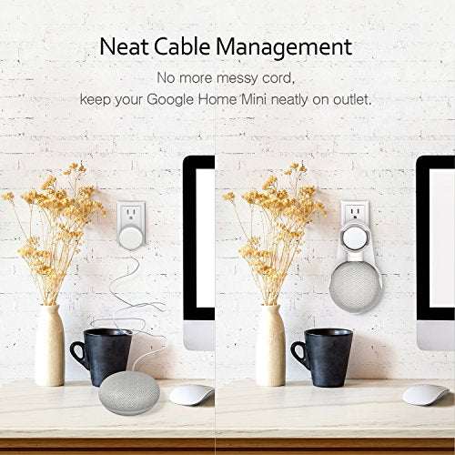 Vodool Outlet Wall Mount Holder for Google Home Mini, A Space-Saving Accessories for Google Home Mini Voice Assistant, Neat Cord Management (White) - His Perfect Gifts