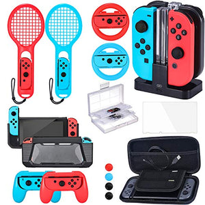 Zadii Accessories Bundle Compatible with Nintendo Switch, Accessories Kit with Tennis Racket, Steering Wheel, Joy-con Grip, 4-Channel Charging Dock, Carrying Case and Screen Protector - His Perfect Gifts