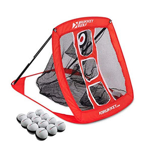 Rukket Pop Up Golf Chipping Net | Outdoor / Indoor Golfing Target Accessories and Backyard Practice Swing Game | Includes 12 Foam Practice Balls - His Perfect Gifts