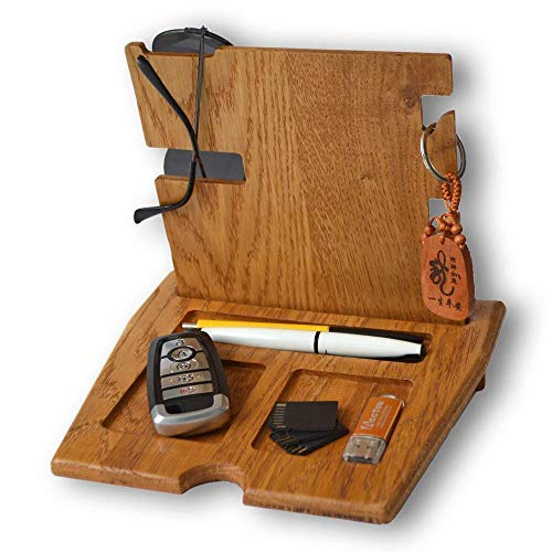 Wooden Phone Stand | Gift for him | 100% Natural Solid Oak | Phone Charging Dock | Tablet Holder | Watch Stand | Desk Organizer: Pen, Keys, Coins, Glasses, Wallet, Earphones | Best Gift Idea - His Perfect Gifts