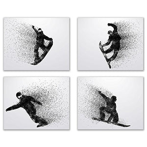Summit Designs Snowboarding Wall Art Prints - Silhouette – Set of 4 (8x10) Snowboard Poster Photos - Bedroom - Man Cave - His Perfect Gifts