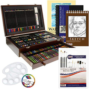 US Art Supply 162 Piece-Deluxe Mega Wood Box Art, Painting & Drawing Set That Contains All The Additional Supplies You Need to get Started. - His Perfect Gifts
