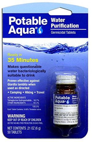 Potable Aqua Water Purification Treatment - Portable Drinking Water Treatment for Camping, Emergency Preparedness, Hurricanes, Storms, Survival, and Travel (50 Tablets) - His Perfect Gifts