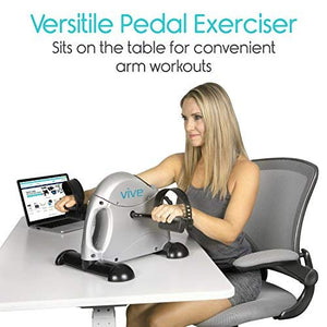 Vive Pedal Exerciser - Stationary Exercise Leg Peddler - Low Impact, Portable Mini Cycle Bike for Under Your Office Desk - Slim Design for Arm or Foot - Small, Sitdown Recumbent Equipment Machine - His Perfect Gifts