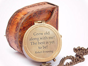 Neovivid Grow Old with ME Engraved Brass Compass ON Chain with Leather CASE, Directional Magnetic Compass - His Perfect Gifts