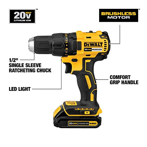 DEWALT DCD777C2 20V Max Lithium-Ion Brushless Compact Drill Driver - His Perfect Gifts