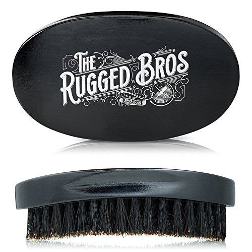 Beard Brush for Men by The Rugged Bros - Made from 100% Pure Wild Boar Hair - Best Round Hair Comb for Facial Care, Conditioning, and Distributing Oil - Perfect for Maintenance of Beards and Moustache - His Perfect Gifts