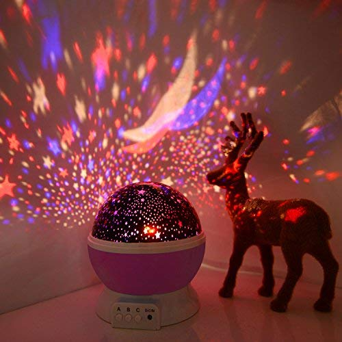 Star Night Light Projector, Baby Lights with 4 LED Bulbs 8 Light Color Changing with USB Cable 360 Degree Romantic Room Rotating Star Projector for Baby Kid Children Bedroom Decor - His Perfect Gifts
