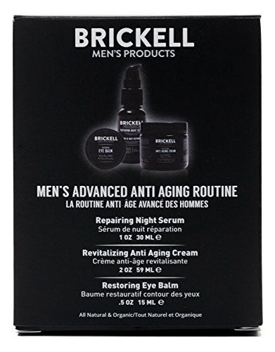 Brickell Men's Advanced Anti-Aging Routine - Night Face Cream, Vitamin C Facial Serum and Eye Cream - Natural & Organic - Scented - His Perfect Gifts