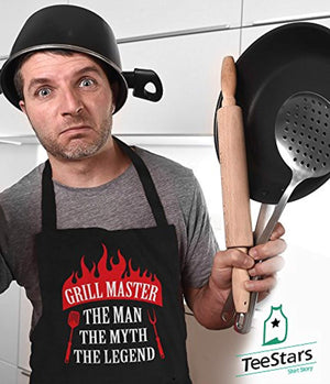 Grill Master The Man The Myth The Legend Father's Day/Birthday Gift Funny BBQ Chef Apron One Size Black - His Perfect Gifts