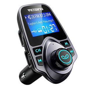 "VicTsing Bluetooth FM Transmitter for Car, Wireless Bluetooth Radio Transmitter Adapter with Hand-Free Calling and 1.44"" LCD Display, Music Player Support TF Card USB Flash Drive AUX Input/Output - His Perfect Gifts"