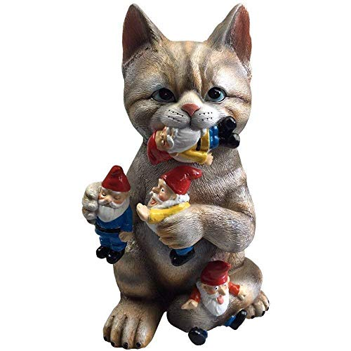 By Mark & Margot - Mischievous Cat Garden Gnome Statue Figurine - Best Art Décor for Indoor Outdoor Home Or Office - His Perfect Gifts