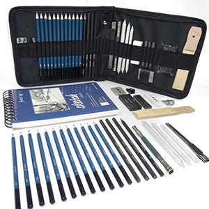 Professional Art Set - Drawing, Sketching and Charcoal Pencils. 100 Page Drawing Pad. Kneaded Eraser included. Art Kit for Kids, Teens and Adults - His Perfect Gifts