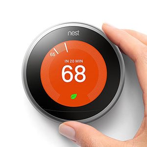 Nest (T3007ES) Learning Thermostat, Easy Temperature Control for Every Room in Your House, Stainless Steel (Third Generation), Works with Alexa - His Perfect Gifts