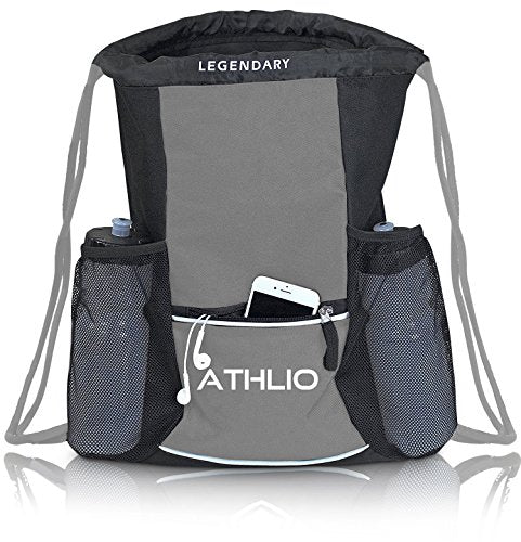 Legendary Drawstring Gym Bag - Waterproof | For Sports & Workout Gear | XL Capacity | Heavy-Duty Sackpack Backpack (Graphite) - His Perfect Gifts
