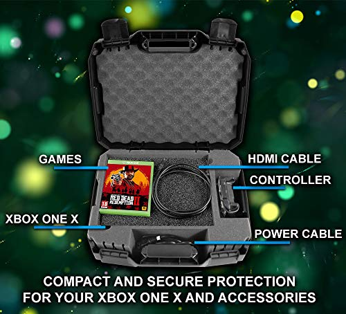 CASEMATIX Console Case made For Xbox One X 1TB , Project Scorpion Edition , One X Controller , HDMI Cable , and Games - Designed For Gamers Who Travel - Impact Resistant Shell - His Perfect Gifts