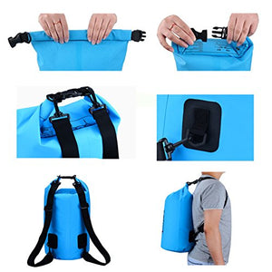 Waterproof Dry Bag - Roll Top Dry Compression Sack Keeps Gear Dry for Kayaking, Beach, Rafting, Boating, Hiking, Camping, Swimming, Floating and Fishing with Waterproof Phone Case (Blue, 15L) - His Perfect Gifts