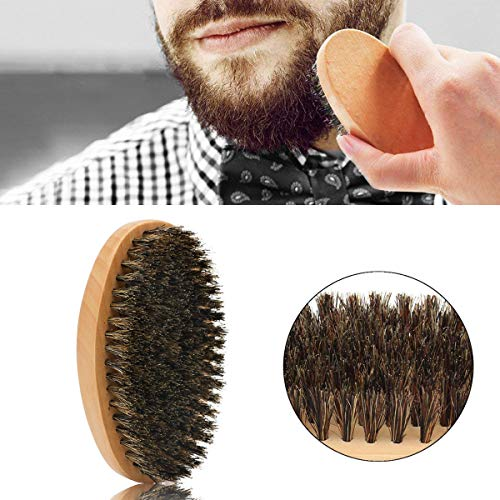 LELEKEY Beard Brush and Comb Set,4-in-1 Beard Grooming Kit,Natural Boar Bristle Brush+Dual Action Wood Comb+Stainless Steel Comb+Mini Scissors w/Travel Pouch,Great for Grooming Beards and Mustache - His Perfect Gifts