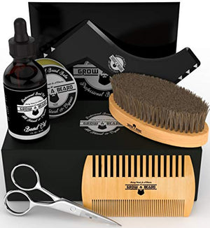 Beard Kit Multi-Functional Grooming Tool | Unique 6-in-1 Mustache & Facial Hair Care Set For Men | Natural Balm, Leave-In Oil, Boar Bristle Brush, Wood Comb, Trimming Scissors, Styling Shaper Template - His Perfect Gifts