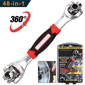 Universal wrench 48 Tools In One Socket, Works with Spline Bolts, 6-Point, 12-Point, Torx, Square Damaged Bolts and Any Size Standard or Metric。Lord Of Wrench。socket wrench。universal wrench - His Perfect Gifts