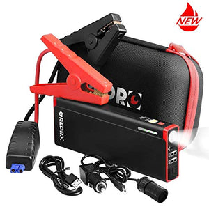 GREPRO Car Jump Starter Kit 1000A Peak 18000mAh Car Battery Charger, 12V Portable Battery Booster (up to 6.5 LGas, 5.5L Diesel), Power Pack with LED Light and Aluminum Alloy Shell - His Perfect Gifts