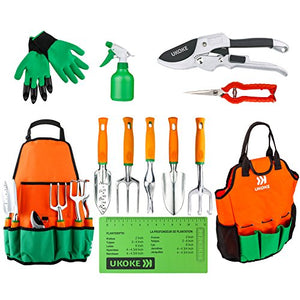 UKOKE Garden Tool Set, 12 Piece Aluminum Hand Tool Kit, Garden Canvas Apron with Storage Pocket, Outdoor Tool, Heavy Duty Gardening Work Set with Ergonomic Handle, Gardening Tools for women men - His Perfect Gifts
