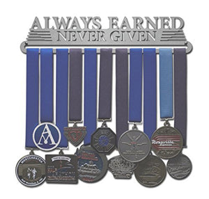 "Allied Medal Hangers - Always Earned Never Given (Compact) (12"" Wide with 1 Hang bar) - His Perfect Gifts"