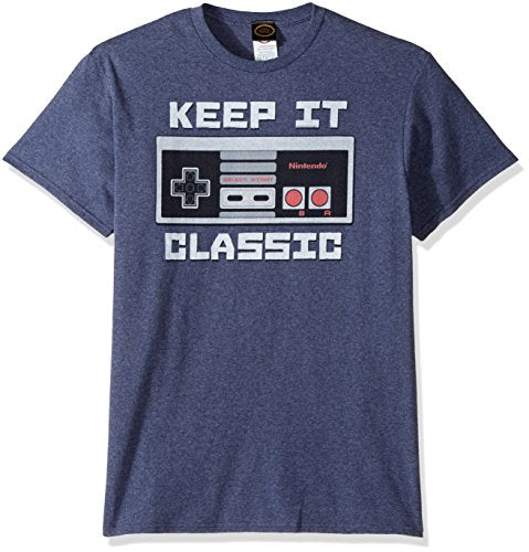 Nintendo Men's Keep It Classic T-Shirt, Premium Navy Heather, Large - His Perfect Gifts