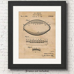 Original Football Patent Art Poster Print - 11x14 - Unframed - Great Wall Art Decor Gifts for Football Players, NFL NCAA pigskin fans, Coach, Man Cave, Boy's Room, Gym, Office - His Perfect Gifts
