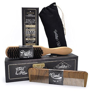 Hair & Beard Comb + Brush - Set - for Men, Sandal Wood Comb, 100% Natural Boar Bristle Brush, Best for Grooming Facial and Head Hair, use with Balm, Oil and Wax, Packaged in Premium Giftbox - His Perfect Gifts