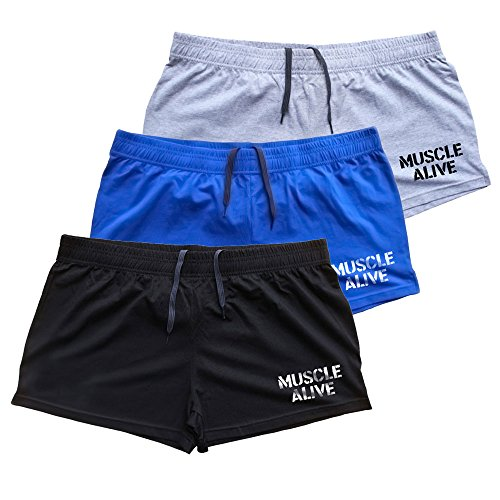 "MUSCLE ALIVE Mens Bodybuilding Shorts 3"" Inseam Cotton Size 2XL MA Black Blue and Gray 3 Packs - His Perfect Gifts"