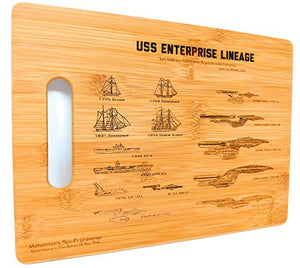 Mahannah's Sci-Fi Universe Laser Engraved Star Trek USS Enterprise Lineage Bamboo Decorative Kitchen Cutting & Serving Board - His Perfect Gifts