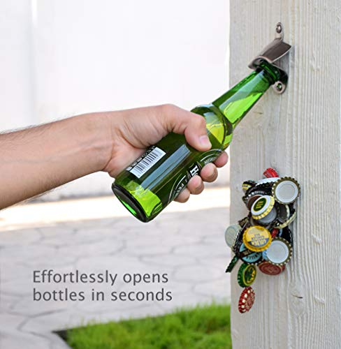 Bottle Opener Wall Mounted with Magnetic Cap Catcher Stainless Steel Easy to Mount by CAPLORD Novelty Beer Lovers Gifts for Men & Women, Funny Birthday Present Idea and Unique Housewarming Gift - His Perfect Gifts