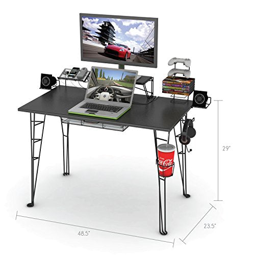 "Atlantic Gaming Desk Multi Function - 32"" TV Stand, Charging Station, Speaker, 5 Game, Controller & Headphone Storage - His Perfect Gifts"