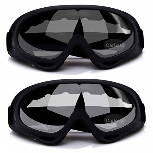 CarBoss Ski Goggles, 2-Pack Snowboard Goggles Skate Glasses, Motorcycle Cycling Goggles, CS Tactical Safety Goggles, Windproof Anti-Dust Outdoor Sports UV400 Protective Goggles (Grey/Clear) - His Perfect Gifts