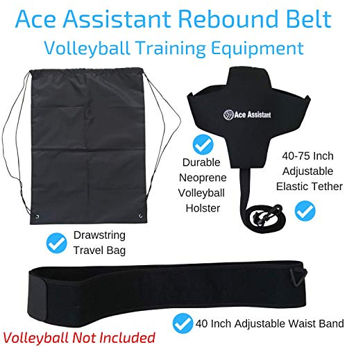 Volleyball Training Equipment Ball Rebounder Aid For Solo Practice Tossing Up Overhand Serves and Hitting Spikes | Tether Returns Volley Ball To You | Includes Instructional eBook And Drawstring Bag - His Perfect Gifts