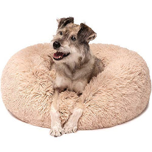 Friends Forever Premium Donut Bolster Orthopedic Dog Bed for Puppy to Medium Dogs & Cat, Medium Tan - His Perfect Gifts