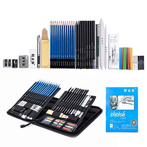 H & B Sketching Pencils Set Drawing and Sketch Kit (48-piece) - His Perfect Gifts