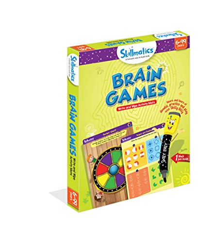 Skillmatics Educational Game: Brain Games (6-99 Years) | Erasable and Reusable Activity Mats | Travel Toy with Dry Erase Marker | Learning tools for Kids 6, 7, 8, 9  Years and Up - His Perfect Gifts