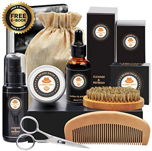 XIKEZAN 8 in 1 Mens gifts for Beard Care Grooming Kit with Unscented Beard Oil and Free Beard Shampoo - His Perfect Gifts